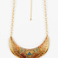 Egyptian Crest Bib Necklace in Gold Multi :: tobi