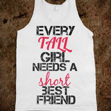 Best Friends Tall Short Pink Black-Unisex White Tank
