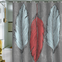 Wesley Bird Feathered Shower Curtain