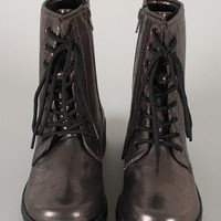 Qupid Missile-04 Distressed Metallic Military Lace Up Bootie