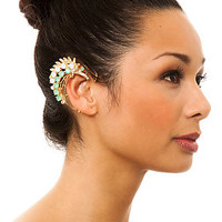 MKL Accessories Ear Cuff Jeweled Leaf in Green and Gold