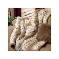Posh Pelts Lynx Jacquard Faux Fur Throw Blanket and Pillow Set
