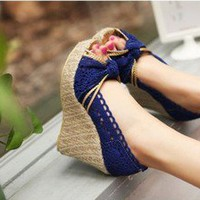 lace flax Waterproof High-heeled sandals