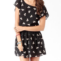 Ditsy Feline Blouson Dress