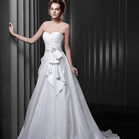 A-line Sweetheart Court Train Organza Beading Wedding Dresses [10129512] - US$167.99 : DressKindom