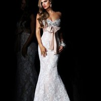 Sweetheart Floor-length Trumpet _ Mermaid Lace Bowknot Evening Dresses [10129157] - US$169.99 : DressKindom