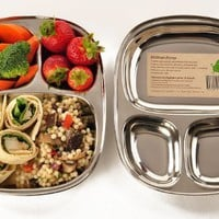 ECO Lunchboxes Stainless Steel 3-Section Food Tray 9 x 7 BPA-Free:Amazon:Kitchen & Dining