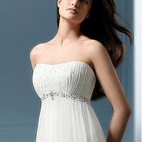 [145.10] Romantci Chiffon & Satin & Tulle Sweetheart Empire Ruched Wedding Dress - Dressilyme.com