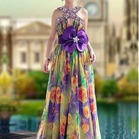 [183.99] In Stock Spectacular A-line High Neck Floor Length Beaded Ruched Bodice Sleeveless Print Party / Prom Dress  - Dressilyme.com
