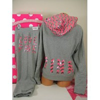 LIMITED EDITION Victoria's Secret Pink & Silver Bling Sequin ZIG ZAG Jacket Hoodie and Signature Fit Pants Set XS