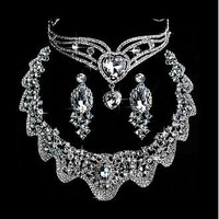 [39.99]  Sparkling First-class Austrian Rhinestone & Alloy Wedding Jewelry Set,Including Necklace,Tiara And Earrings - Dressilyme.com