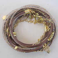 Boho Wrap Bracelet Tan Leather and Champagne by DesignsbyNoa