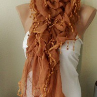 Redish Brown Color Ruffle Scarf from 100 coton with pompom lace | moonfairy - Accessories on ArtFire