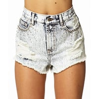 Rhinestoned Acid Wash Cut Offs | FOREVER 21 - 2027706273