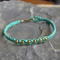 Hemp Bracelet  Turquoise Blue Hemp w/ Gold by KnottyandNiceHemp