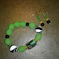 Green and Gold Bracelet and Earring Set