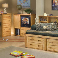 Harley Twin Size Big Bookcase Captain's Bed