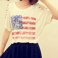 USA Flag Rivet Strapless Loose T-shirt