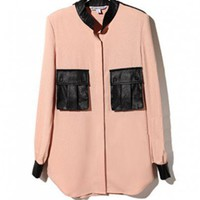 Pink Pockets Blouses with Contrast Leather Insert