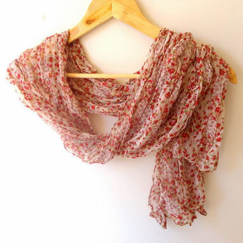 summer fashion scarf, women scarves , floral print  wrinkled fabric scarf , trendscarf