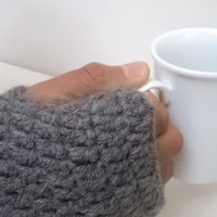 Fathers day gift, Men fingerless gloves, Men gloves, Wool grey men gloves, father gifts, crochet gloves, handmade gloves, Men gifts