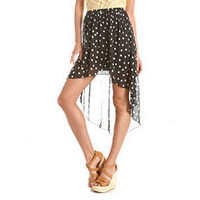 Pleated Polka Dot Hi-Low Skirt: Charlotte Russe