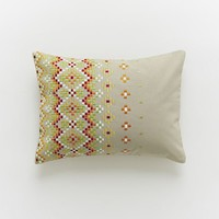 Embroidered Vertical Mosaic Pillow Cover