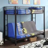 Black Metal Twin Futon Bunk Bed | Overstock.com