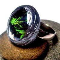 EMERALD - Real Butterfly Wing RING - Sunset Moth - Handmade Under Gla | bluembrownlee - Jewelry on ArtFire