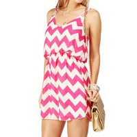 Fuchsia/White Chevron 2 Strap Dress