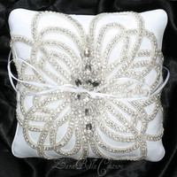 Crystallized wedding ring pillow by ZaraBellaCouture on Etsy