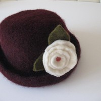 Chocolate Brown Knitted Felt Hat on Luulla