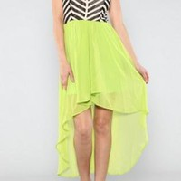 Neon Green High Low Dress with Chevron Top