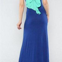 Cobalt Blue Maxidress with Mint Bowback