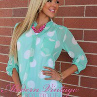 Seeing Spots blouse Baby Blue - Modern Vintage Boutique