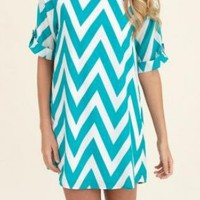 Aqua and White Chevron Shift Dress