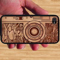 Vintage Old Camera on Wood Carved iPhone Case - Rubber Silicone iPhone 5 Case