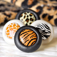 Jungle Safari Animal Print Pushpins Zebra Tiger by CreaShines