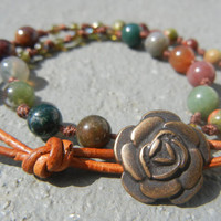 Layered Bohemian Beaded Wrap Bracelet - Fancy Jasper Poppy Jasper Unakite Leather Flower Bracelet - Summer style