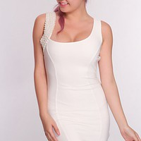 White Rhinestone Mesh Detail Hot Dress