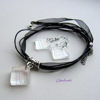 Icy Clear Squares Patterned Iridescent Fused Glass Jewelry Set