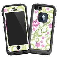 Pink Floral and Green Swirls Skin for Lifeproof iPhone 5 Case