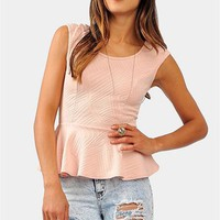 Jasmine Peplum Top - Peach