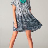 Navy Tribal Print Dress White