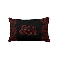 Paisley Flower (Red) Throw Pillows from Zazzle.com