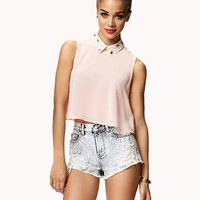 Bejeweled Georgette Crop Top | FOREVER 21 - 2042763926