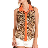 Color Block Animal Button-Down Top: Charlotte Russe