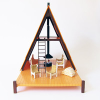 Vintage 1970s A- Frame  Mountain House Playset