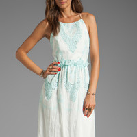 Dolce Vita Rayan Petticoat Embroidery Maxi Dress in White/Mint from REVOLVEclothing.com