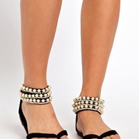 New Look Girl Pearl Cuff Flat Sandals at asos.com